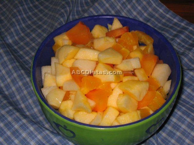 Macedonia que no oscurece. Ensalada de frutas